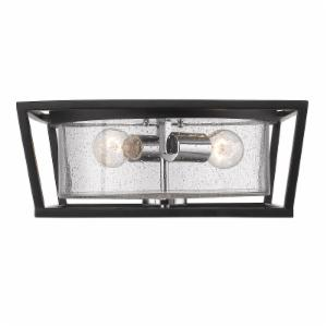 Golden Lighting Mercer 4309-FM BLK-SD Flush Mount Light