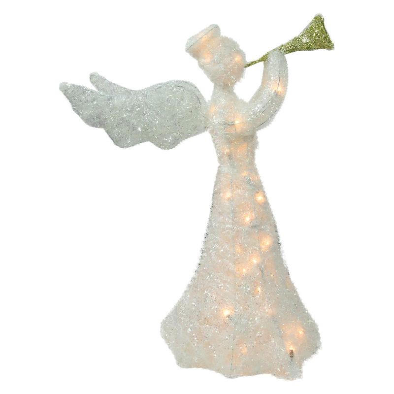 lighted tinsel trumpeting angel christm