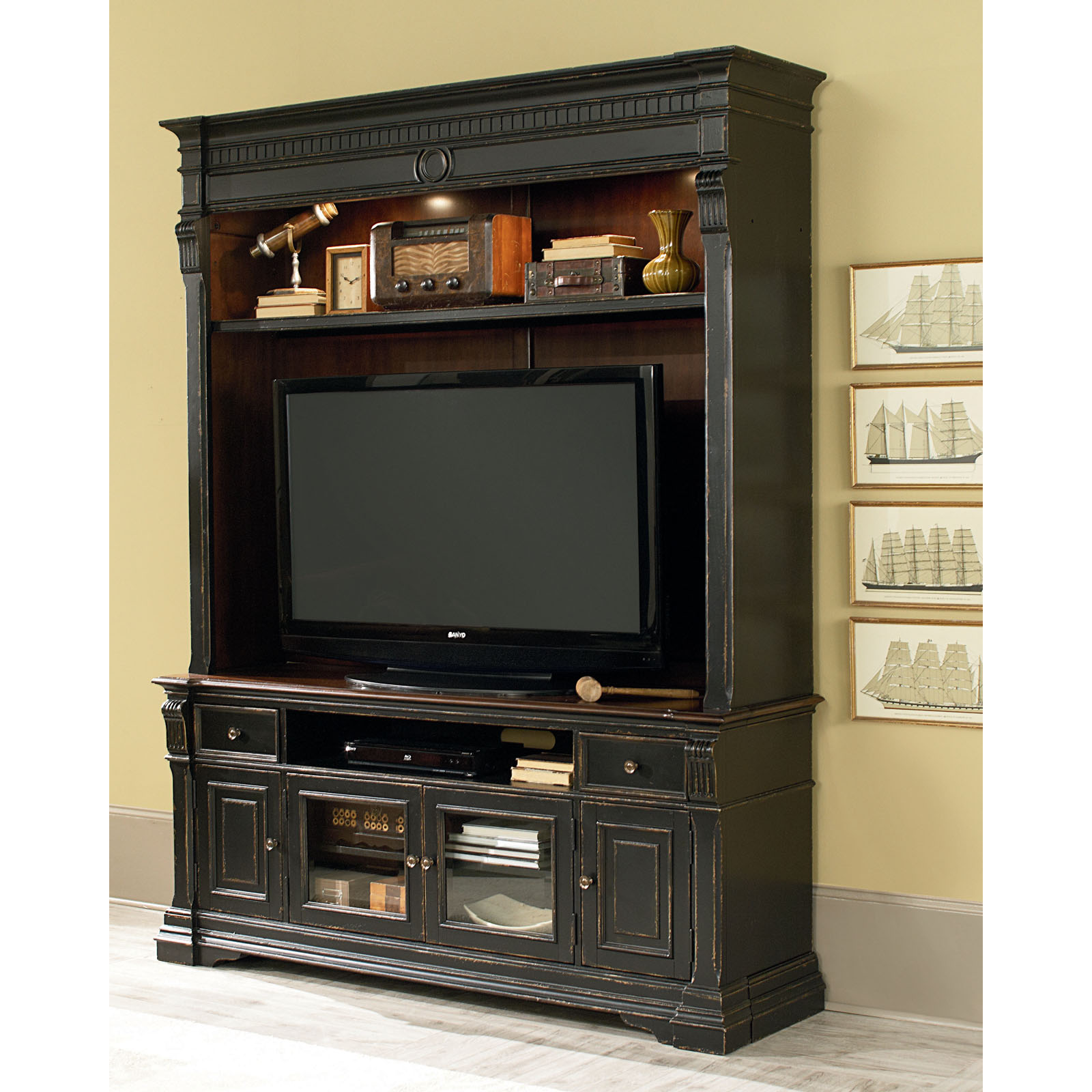 Legends Furniture Manchester Entertainment Center Rustic Black