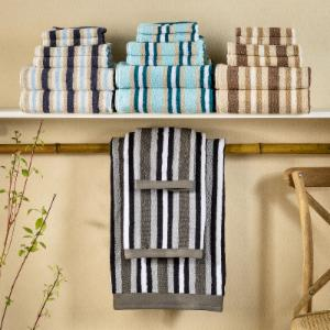 Superior Long-Staple Combed Cotton Loops Stripes 6 Piece Towel Set