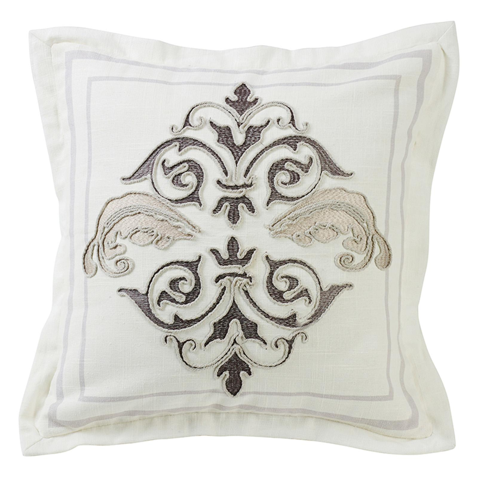 HiEnd Accents Square Outlined Embroidered Design Pillow with Flange - FB4900P1