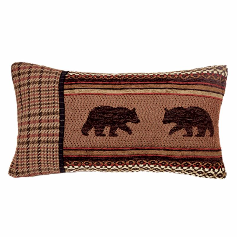 HiEnd Accents Small Oblong Houndstooth and Bear Pillow - LG1905P8