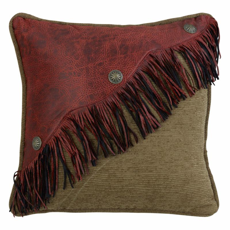 HiEnd Accents Diagonal Red Faux Leather Design with Fringe and Concho - WS4287P3