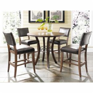Hillsdale Cameron 5 Piece Counter Height Round Wood Dining Table Set with Parson Chairs