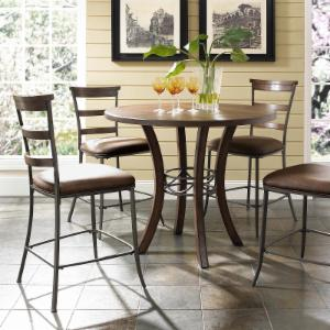 Hillsdale Cameron 5 Piece Counter Height Round Wood Dining Table Set with Ladder Back Chairs