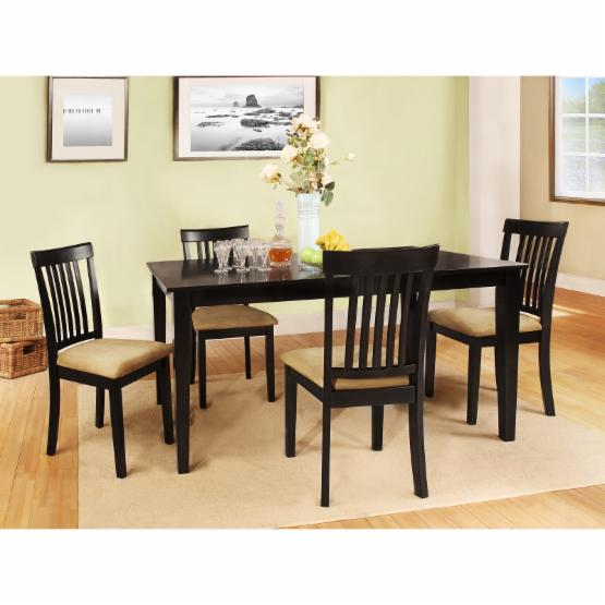 Weston Home Tibalt 5 Piece Rectangle Black Dining Table Set - 60 in. with Mission Back Chairs
