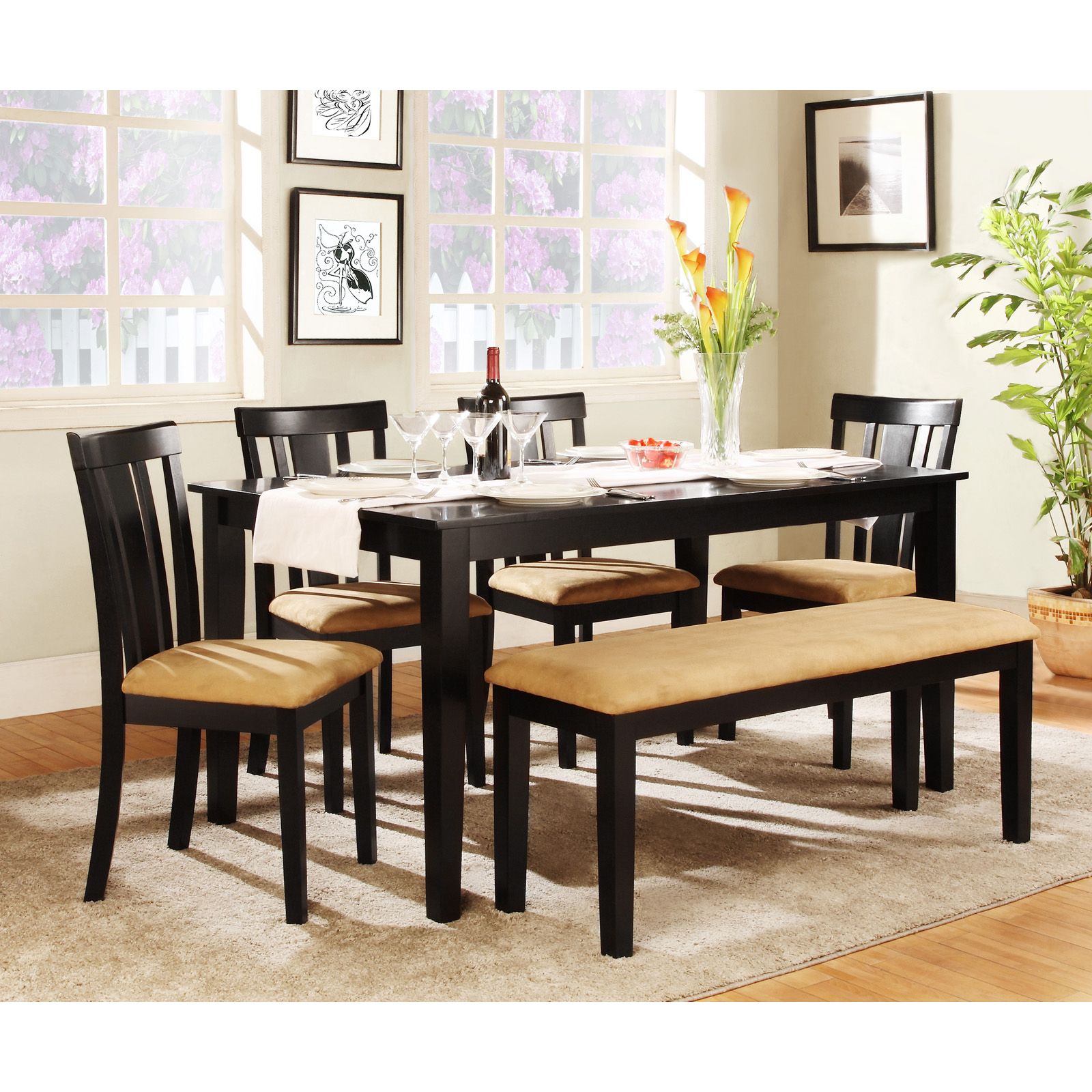 Kitchen Benches With Backs Rectangle Dining Table With Bench Dining Room Table Aberdeen Wood