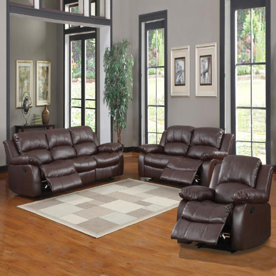 Newwell Leather Reclining Sofa Set - Brown