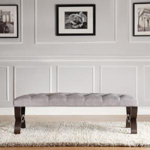 Weston Home Bentwood Leg Bench - Gray Linen - 48 in.