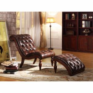 Weston Home Bonded Leather Button Tufted Chaise and Ottoman - Warm Brown