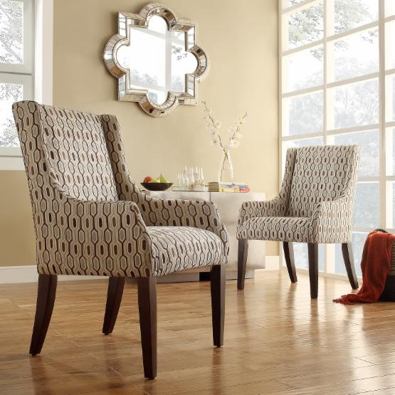 Weston Home Blue Hexagon Print Fabric Accent Chair with Sloping Track Arm