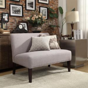 Weston Home Upholstered Gray Linen Loveseat - Espresso