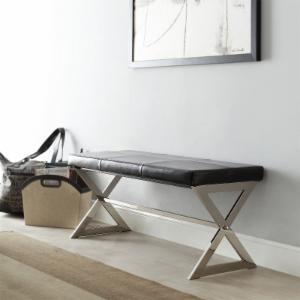 Chelsea Lane 40 in. X-Base Bonded Leather Bench