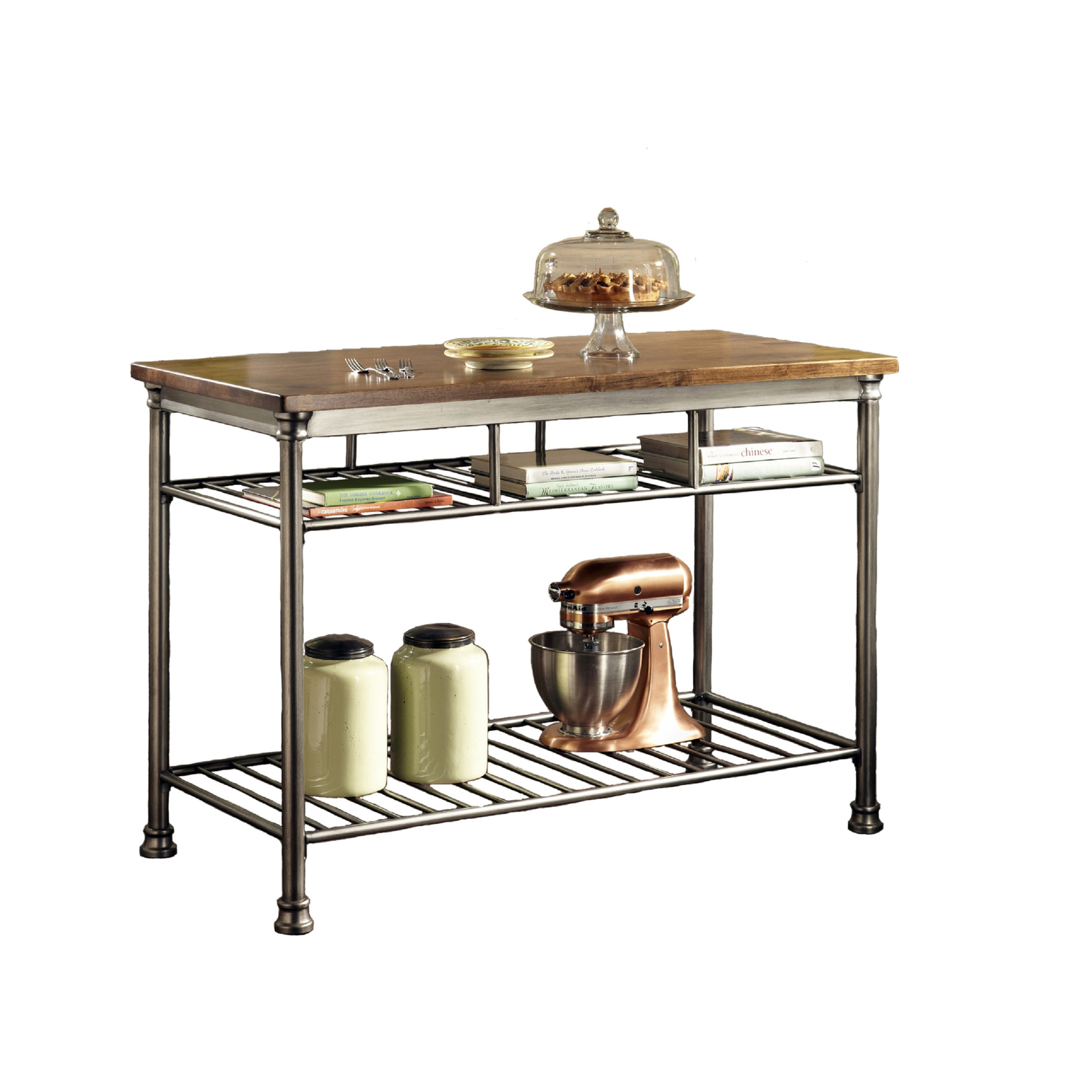 Home Styles Orleans Wire Rack Kitchen Island With Caramel Butcher Block Top,