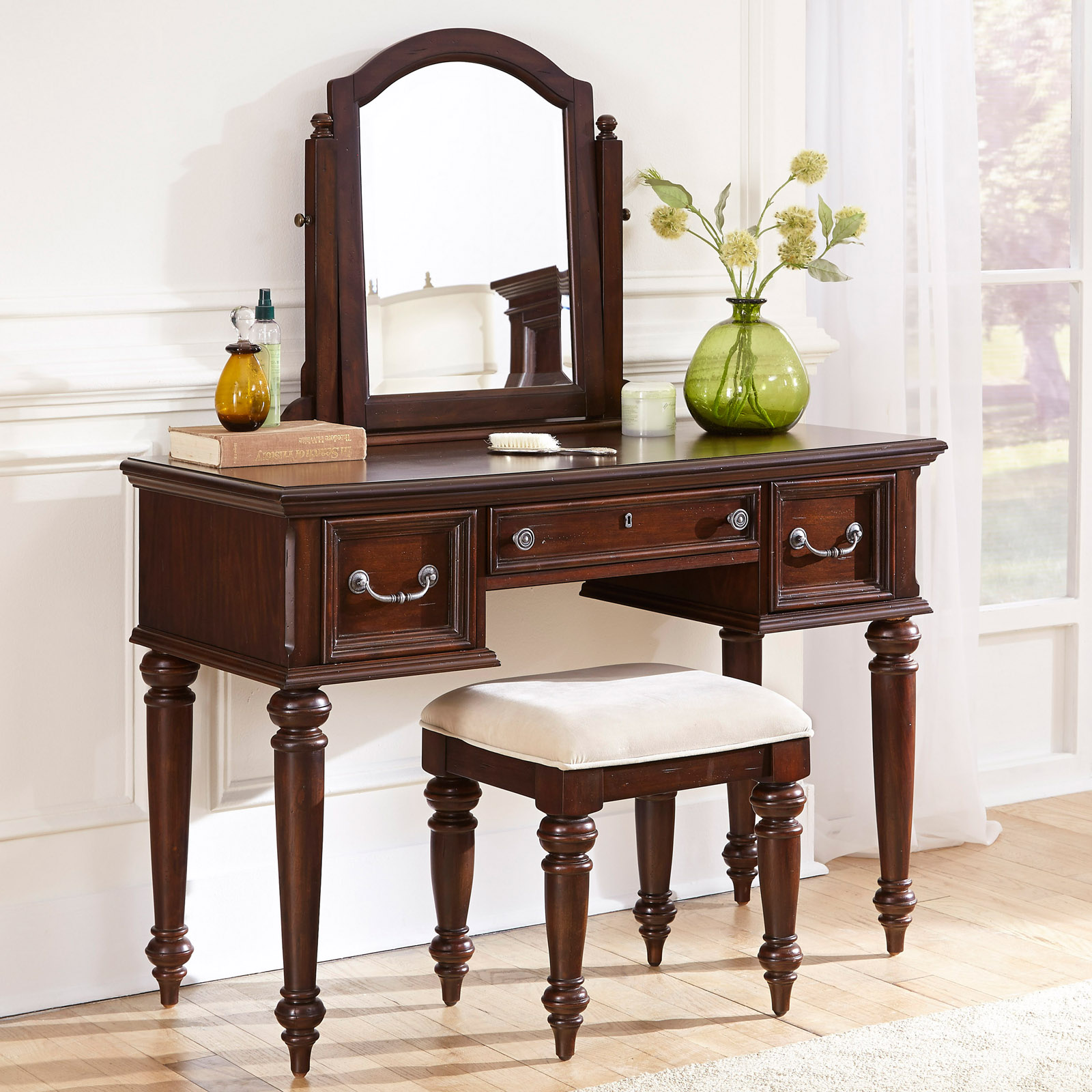 bedroom vanity with mirror home styles colonial classic 3 drawer vanity and mirror 14449