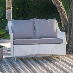 Belham Living Lindau All Weather Wicker Patio Loveseat Glider with Cushion - White