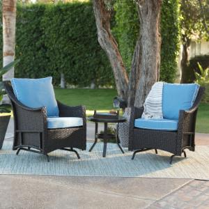 Belham Living Lindau All Weather Wicker Glider Chairs with Side Table - Dark Brown
