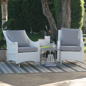 Belham Living Lindau All Weather Wicker Glider Chairs with Side Table - White