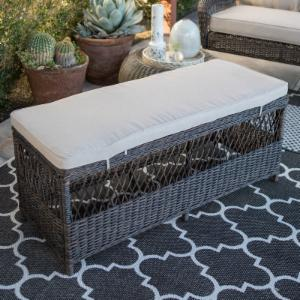 Belham Living Montauk Resin Wicker Outdoor Backless Bench with Cushion