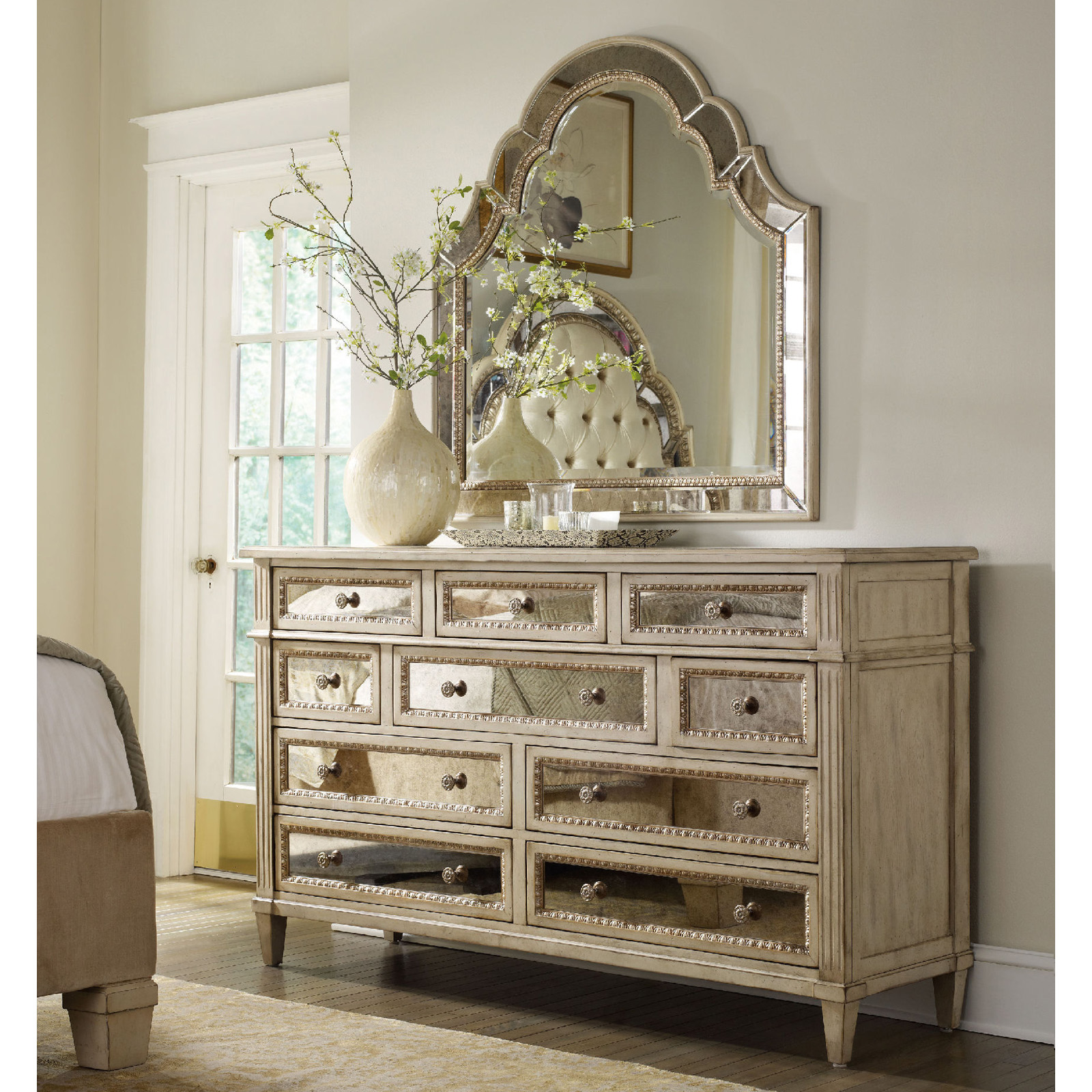 hooker bedroom furniture.  Hooker Furniture Sanctuary 10 Drawer Mirrored Dresser Hayneedle