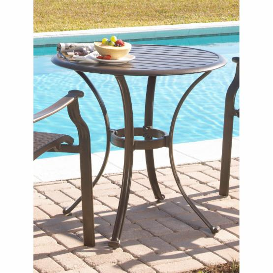 Panama Jack Island Breeze Slatted Aluminum 30 in. Bistro Dining Table - Espresso