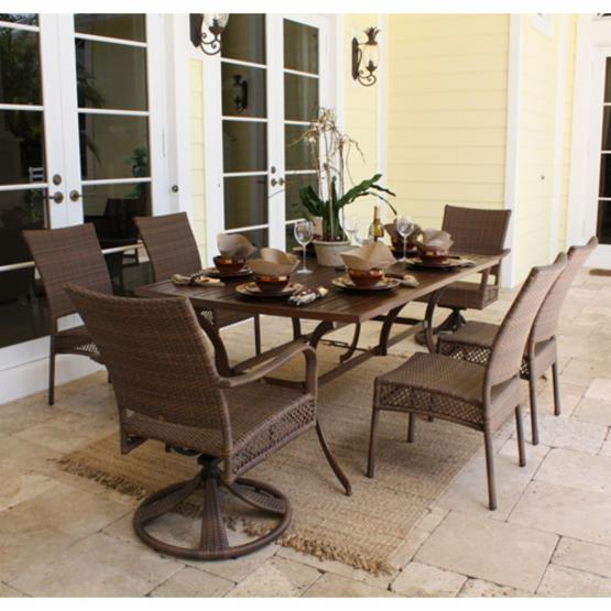 Hospitality Rattan Grenada 7 Piece Rectangle Slatted Patio Dining Set - Viro Fiber Antique Brown - Seats 6