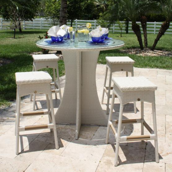 Hospitality Rattan Grenada 5 Piece Patio Pub Set - Viro Fiber White Wash with Tempered Glass - Seats 4