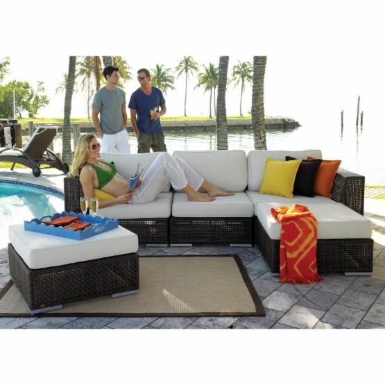 Hospitality Rattan Soho 5 Piece Deep Seating Sectional Conversation Set with Cushions - Rehau Fiber Java Brown
