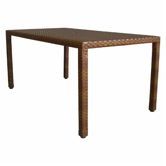 Panama Jack St. Barths Woven 36 x 60 in. Rectangular Patio Dining Table - Brown Pine with Viro Fiber