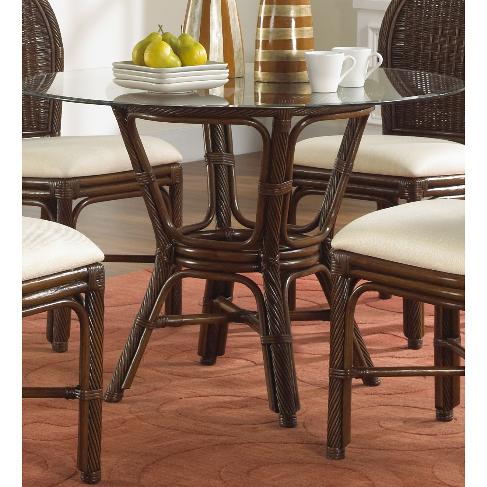42 round glass dining table hospitality rattan key west indoor rattan amp wicker 42 in 7358