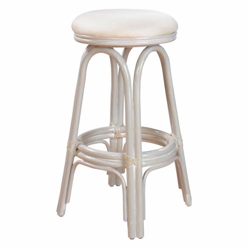 Hospitality Rattan Carmen Indoor Swivel Rattan & Wicker 24 in. Counter Stool with Cushion - Whitewash - 804-6095-W/W-C