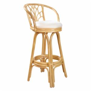 Hospitality Rattan Valencia Indoor Swivel Rattan & Wicker 24 in. Counter Stool with Cushion - Natural