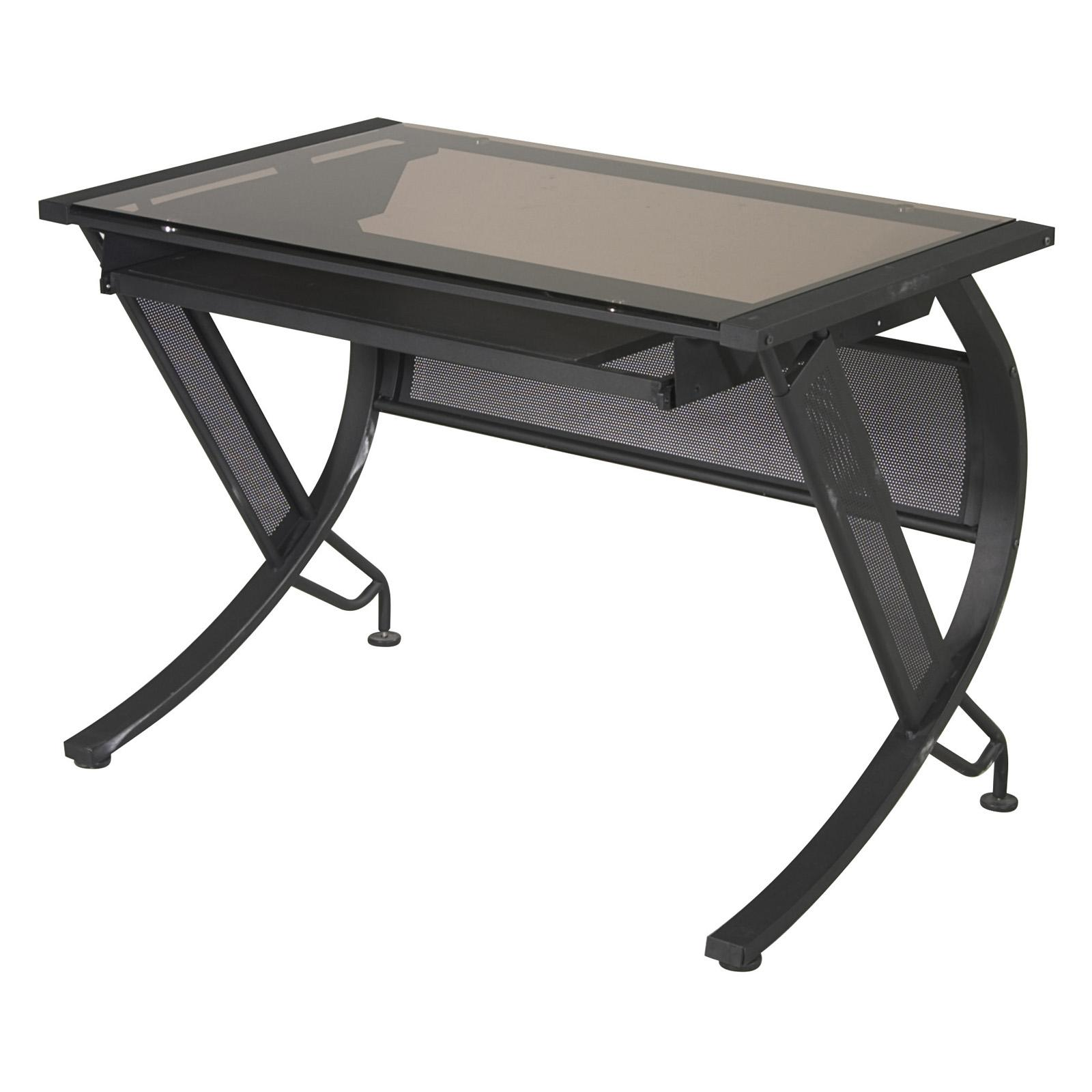 Office Star Horizon Horizon Desk with Keyboard - Black with Bronze Glass - HZN25