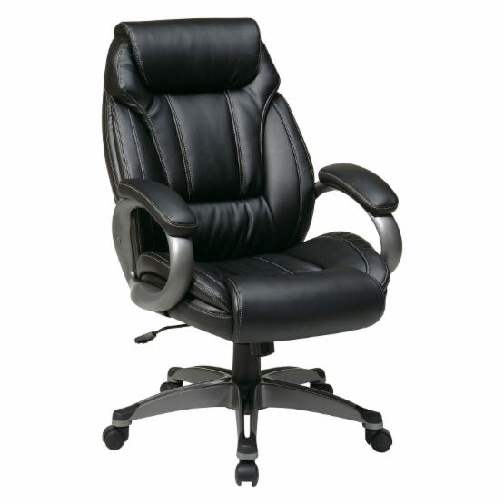 Office Star Executive Eco Leather Chair with Padded Arms and Coated Base