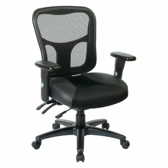 Office Star ProGrid High Back Managers Chair with Leather and Mesh Seat