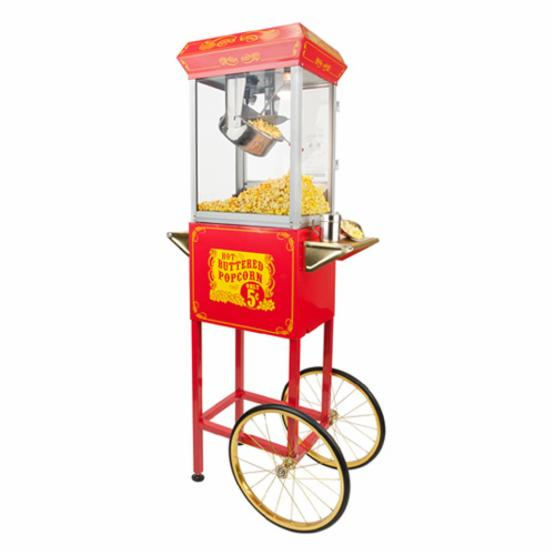 FunTime FT454CR Sideshow Popper Hot Oil Popcorn Machine with Cart