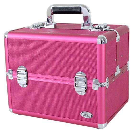 Jacki Design Carrying Aluminum Makeup or Salon Train Case with Expandable Trays