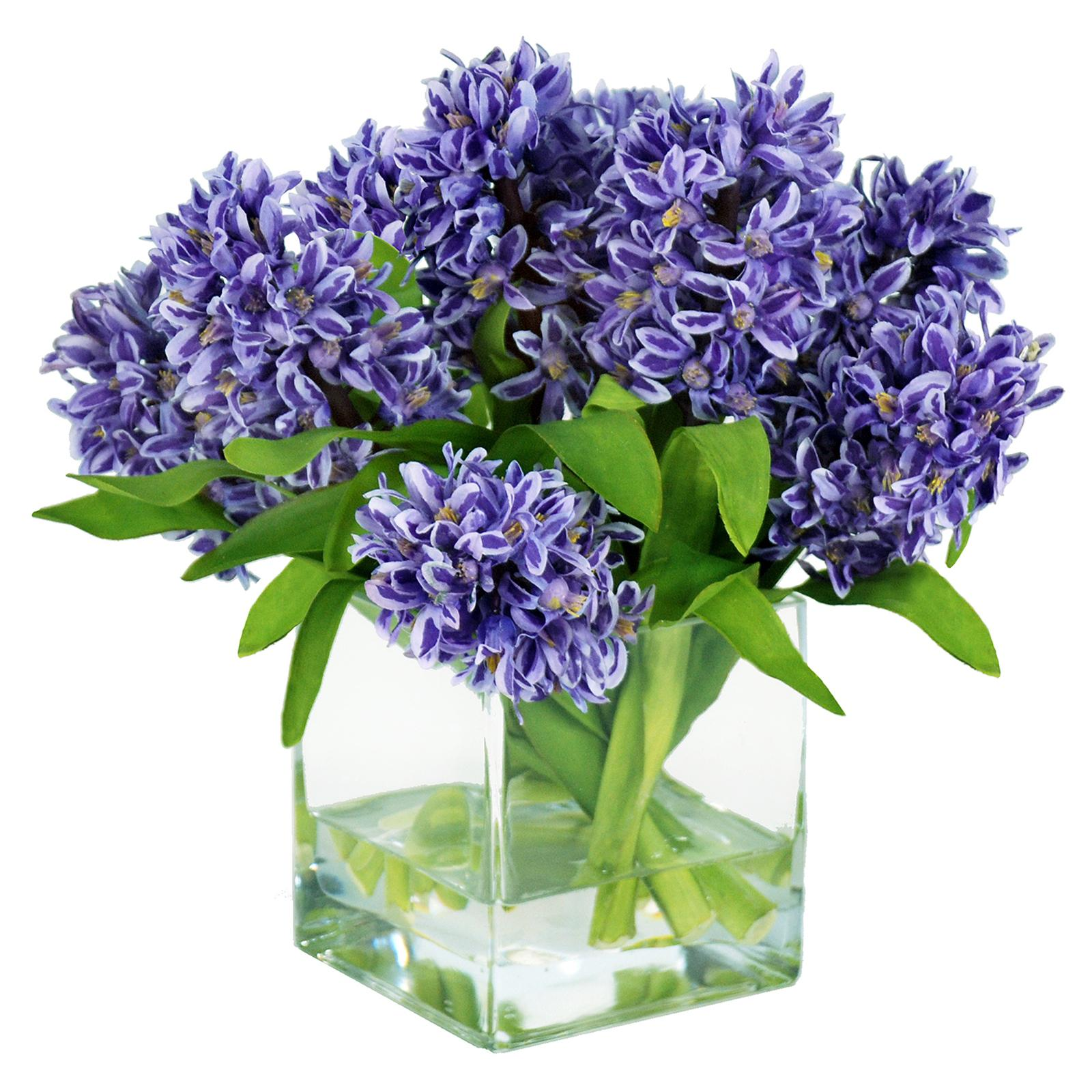Jane Seymour 12 in. Purple Hyacinths with Square Glass Va...