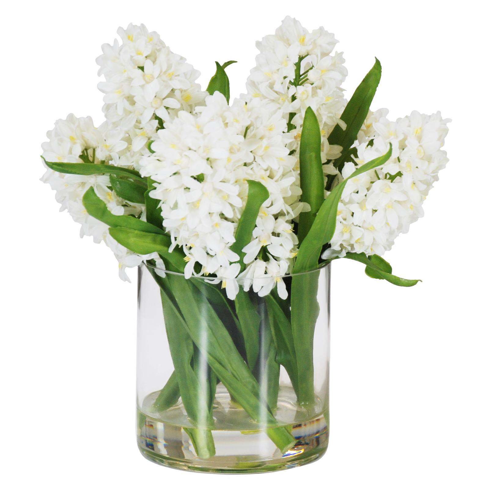 Jane Seymour 14 in. White Hyacinths with Round Glass Vase...