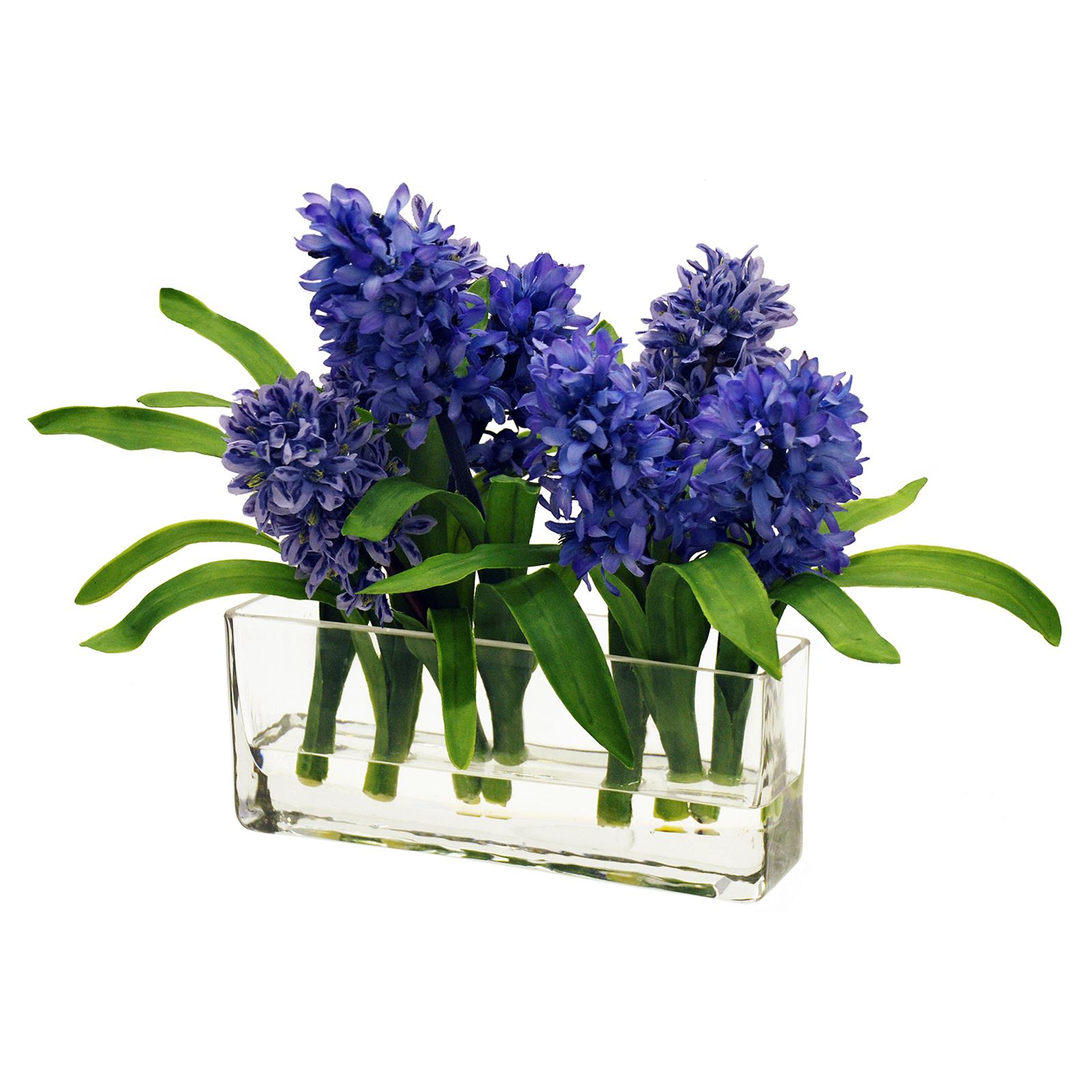 Jane Seymour 12 in. Purple Hyacinths with Rectangle Glass...