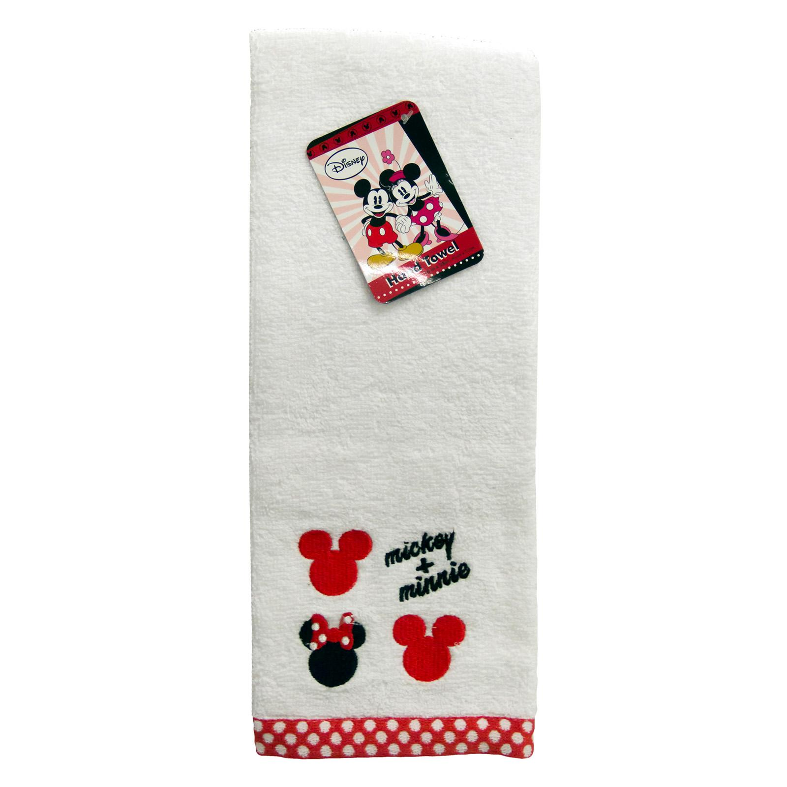 Disney Mickey and Minnie Embroidered Hand Cotton Towel - ...