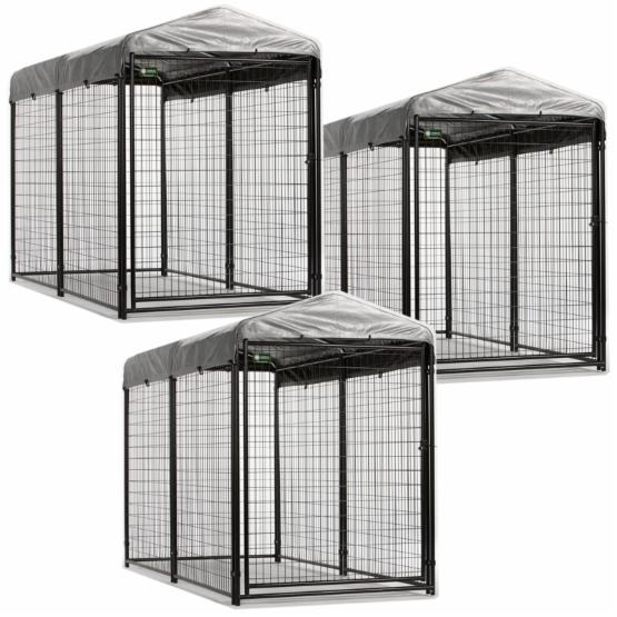 AKC 4 x 8 x 6 ft. Professional Kennels with Cover & Frame - 3 Units