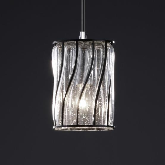 Justice Design WGL-8815 - Pendants 1 Light Mini Pendant - Cylinder with Flat Rim Shade - Polished Chrome with Swirl with Clear Bubbles Glass