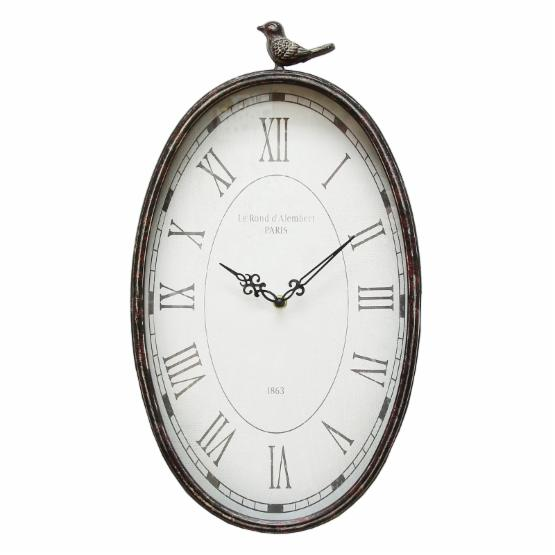 Stratton Home Antique Oval Bird Wall Clock
