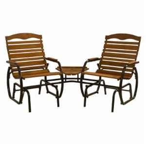 Jack Post Wooden Double Chair Glider Tete-A-Tete with Tray