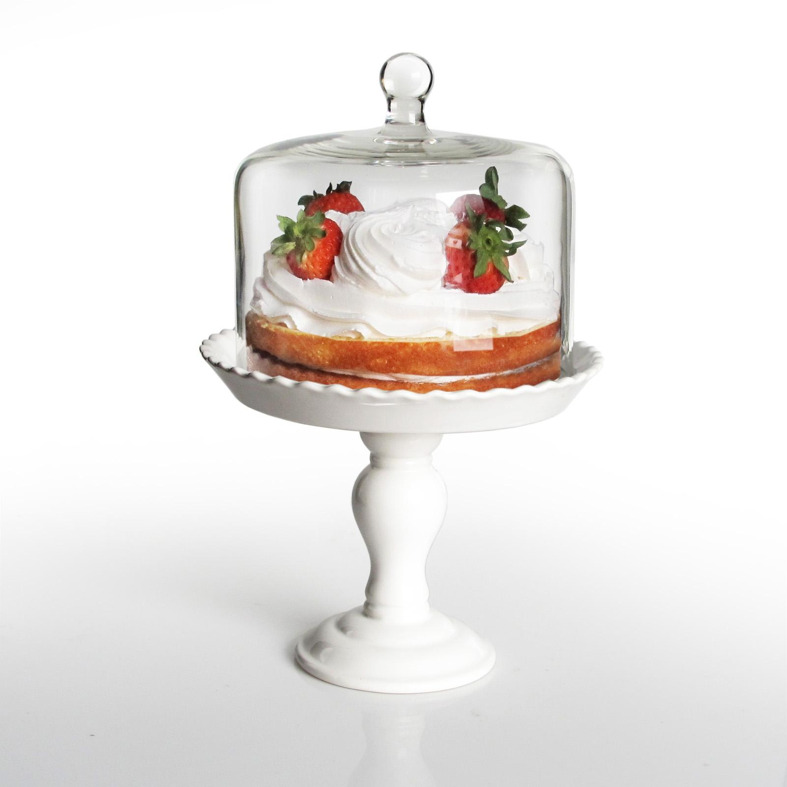 Jay Import Bianca Pedestal Cake Plate with Glass Lid Whit...