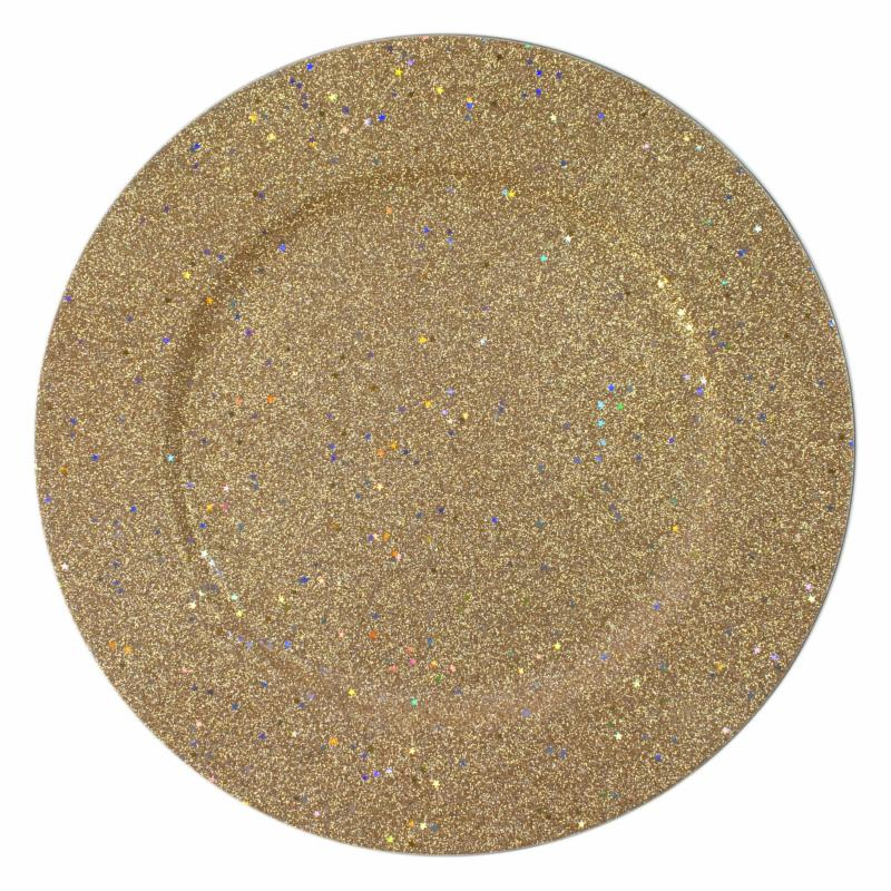 Charge it by Jay Glitter & Stars Gold Charger Plates - Se...