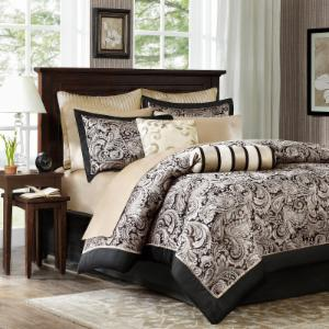 Wellington 100% Polyester 12 Piece Jacquard Comforter Set with Piping by Madison Park