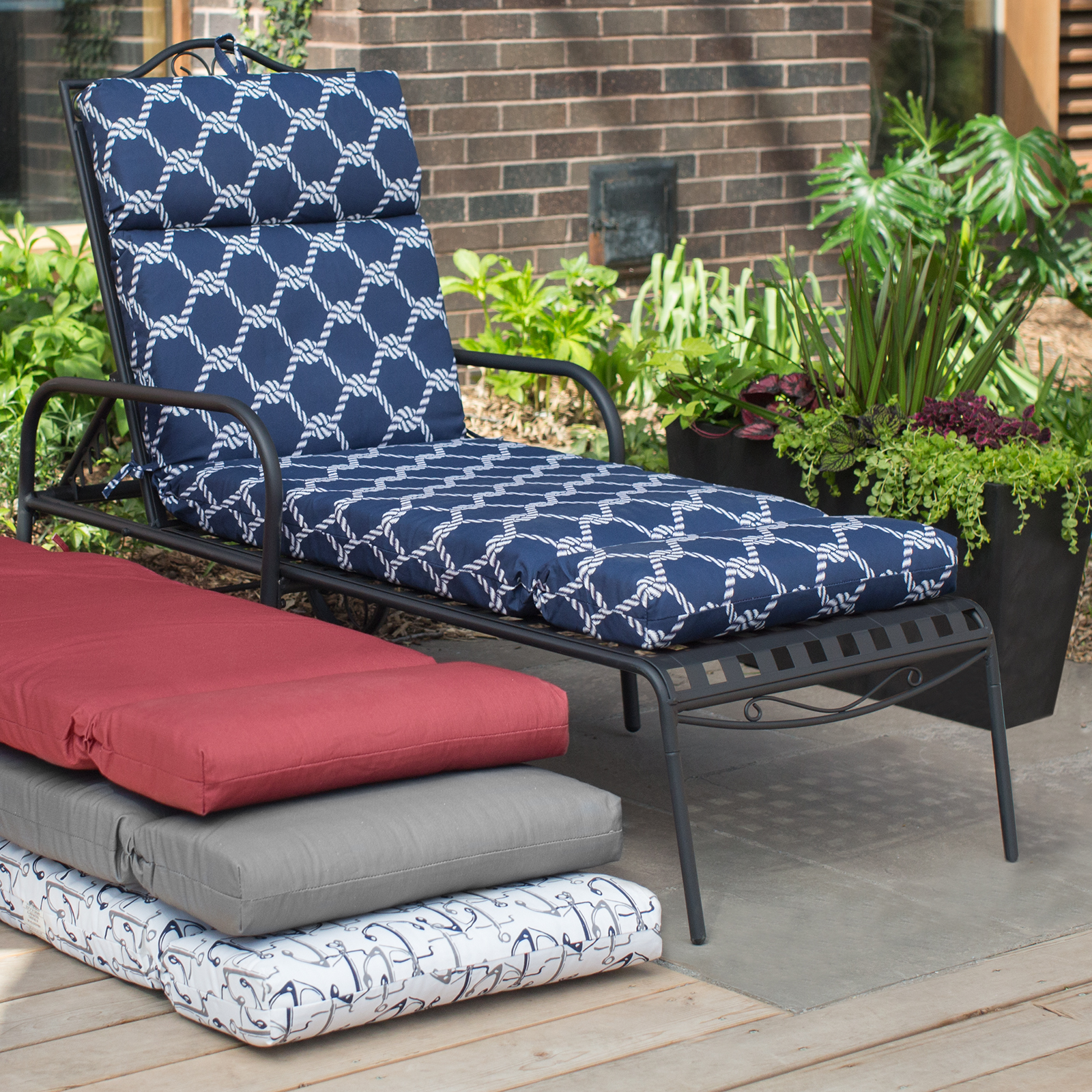 QUICK VIEW. Coral Coast Nautical French Edge 72 in. Outdoor Chaise Lounge Cushion : patio chaise cushion - Sectionals, Sofas & Couches