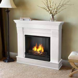 Real Flame Chateau Ventless Gel Fireplace - White